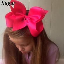 2 Pcs/Lot 6'' Fashion Solid Ribbon Hair Bow For Kids Girls Handmade Hair Accessories With Clip Headwear Hairgrips(China)