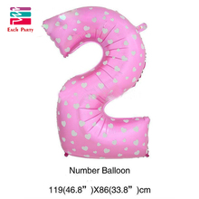 Lovely 40 inches pink & blue digit 2 foil balloons birthday party number ballons wedding Christmas decorations holiday supplies