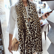 Autumn in Europe and America popular leopard scarves Women cotton oversized scarf  Vacation shawl