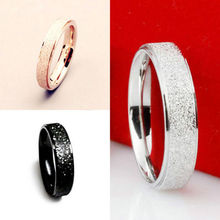 4 Size  Fashion Romantic Couple Wedding Band Ring Stainless Steel Frosted Rings Gift Jewelry Big Rings For Women Men