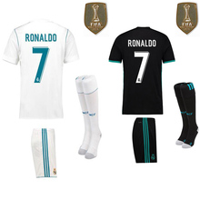 Free patch 2017 Thai best Quality Realed Madrided adult kit + sock Shirts 17 18 Home White Away 3RD free shipping(China)