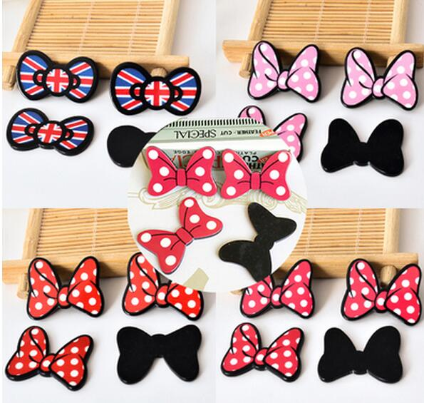 4 x Mickey Minnie Donald Duck Planar Resin Hair Bow Crafts Embellishments