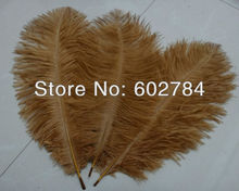 Free Shipping 100pcs/lot gold / brown ostrich drab feather ostrich plumage 30-35CM 12-14inch for wedding decoration