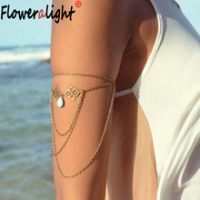 Floweralight Boho Hollow Pendant Upper Arm Cuff Chains Armlet Water Drops Tassel Bracelet Bangle for Women Beach Jewelry