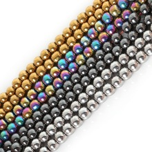 Free Shipping Natural Stone Hematite beads Round Loose Shamballa Beads Stone ball Four Colors 6MM For Jewelry bracelet Making