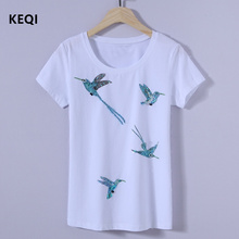 KEQI Women Summer Novelty Birds Design T shirt vintage tops Hot Sales Tee Shirts 1731
