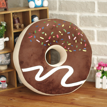 Candice guo! Super cute plush toy chocolate donut round bagel creative cushion soft pillow birthday gift 1pc(China)