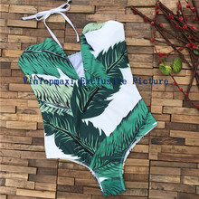 Hot Sale Vintage Women's Beach Wild Coco Palm Trees One Piece Swimsuit V-Open Strapless Swimwear Push Up Padded Bodysuit