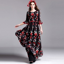 Print Long party dress 2016 NEW High quality spring fashion Women trend Clothing summer Dress XL colorful flowers dresses black