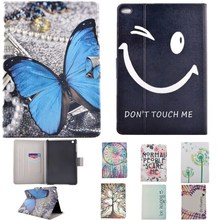 Fashion Cartoon Butterfly Smile Face Pattern Stand PU Leather Case Cover For Apple IPad Mini 4 Tablet Protect Case Card Slot Bag
