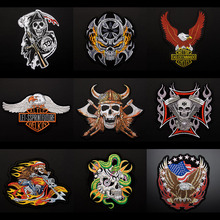 1Pcs/lot Large Eagle Flame Skull Head Harley Motorized Embroidery Badge Cloth Stickers Back Patch DIY Decoration Sticker A760
