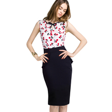 New Women O-neck Bow Summer Dress Office Ladies Cherries Pattern Print Sleeveless Casual Dresses Wear To Work B284