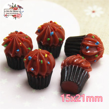 Chocolate ice cream cup 10PCS dessert 3D Resin Flatback Cabochon Miniature food Art Supply Decoration Charm Craft DIY 15x21mm