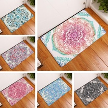 Door Mat Mandala Mat Flower Printed Suede Rug Home Decoration Bathroom Carpet Bath Mat 40x60cm Outdoor Kitchen Toilet Floor Mats