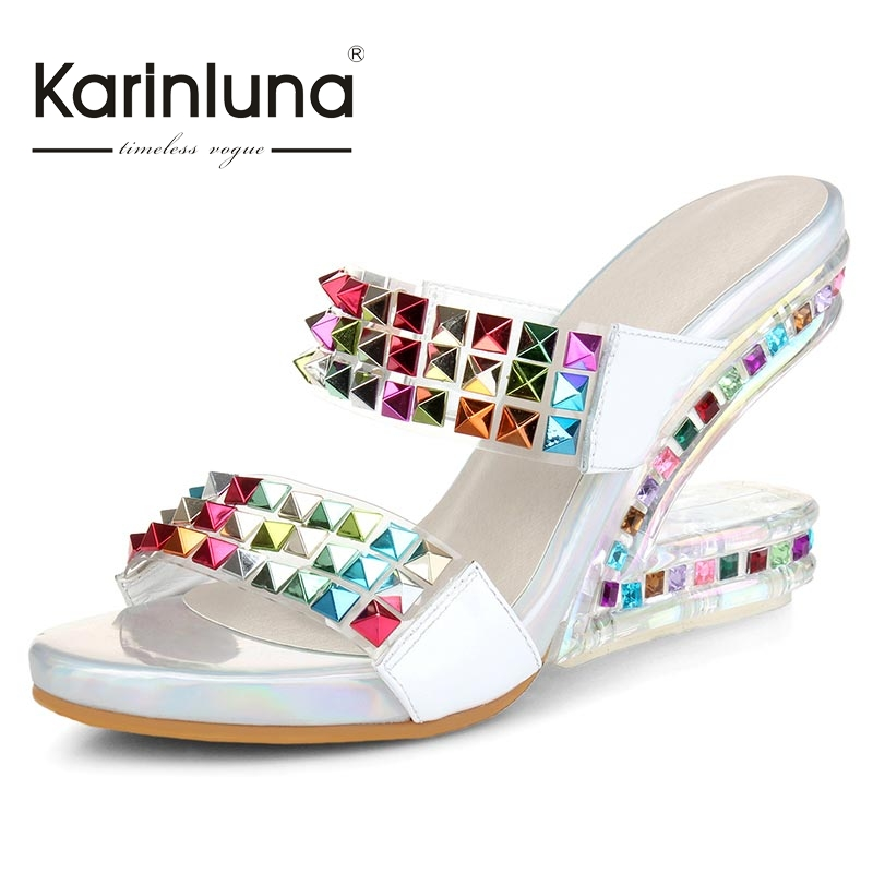 KarinLuna Size 34-39 Fashion Patent Leather Rhinestone Bohemia Summer Shoes Party Wedding Open Toe Platform Sandals<br><br>Aliexpress