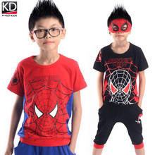 New Children Summer Clothing Set Kids Sports Outfit Boy Tracksuit Cotton Suit of Short sleeve T shirt middle pants Spiderman Set