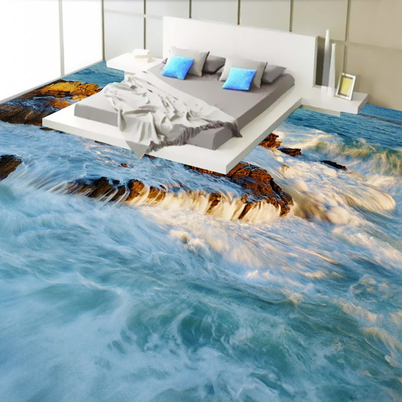 Free Shipping high quality 3D surfing landscape flooring sticker bedroom studio office floor wallpaper mural<br>