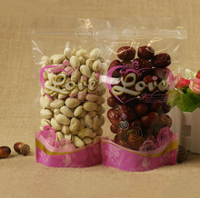 100Pcs Pink Food Zipper Packaging Bags, Clear Pretty Design Stand Up Pouch for drinks,Beverages Bags,Nuts and Grain