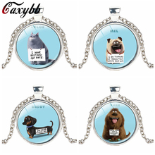 Gaxybb The Secret Life of Pets The Cute Animal Crystal glass Photo Necklace Bird Jewelry Dog Dachshund Gift for The Kids