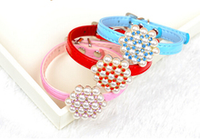 2046 Pet Products Dog Collar Cat Collar Pet Collar WitH Pearl Blue/Pink/Red Mixed Colors 1PC(China)