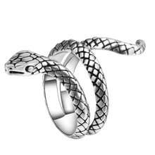 2017 New Fashion Wholesale Fashion Snake Rings For Women Silver Color Heavy Metals Punk Rock Ring Vintage Animal Jewelry