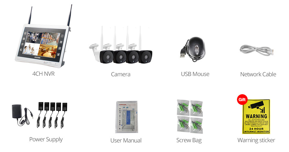 LCD NVR CCTV kit pack