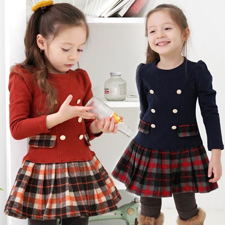 Free shipping Fall/winter Scottish plaid double-breasted girls dress pleated dress<br><br>Aliexpress
