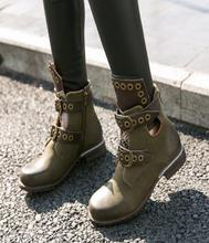Women Army Green Genuine Leather Ankle Boots Vintage Studded Flats Botines Double Buckle Autumn Boots Femme Designer Rubber Boot(China)