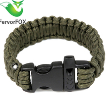 1PC Outdoor Camping Paracord Parachute Cord Emergency Survival Bracelet Rope with Whistle Buckle(Army Green)(China)