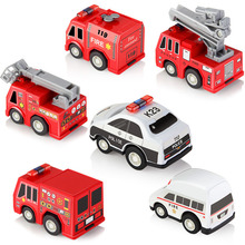 6pcs Assorted 1:60 Mini Car Fire Police Truck Plastic Die Cast Pull Back Rescue Car Toys for Boys Girls Gift Brinquedo(China)