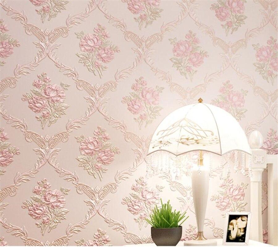 Beibehang European wallpaper roll luxury pink light green beige 3D wallpaper marriage room living room backdrop 3d wallpaper<br>
