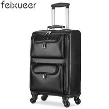 feixueer New 100% Genuine Cow Leather Trolley Retro Rolling Luggage Women Suitcase Carry-Ons Men Travel Case 16 Inch Brown 15006(China)