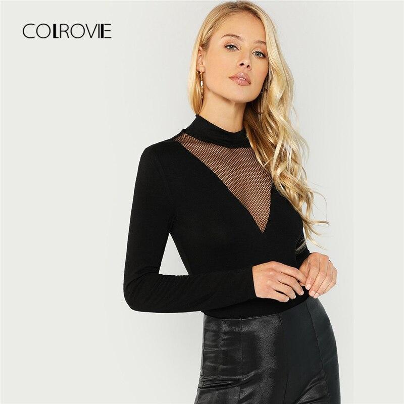 COLROVIE Black Solid Slim Mesh Elegant T Shirt Women Tops 2018 Autumn Long  Sleeve Tee Sexy Office Work Female Girl T-Shirts - aliexpress.com -  imall.com 4d4d6dc34145