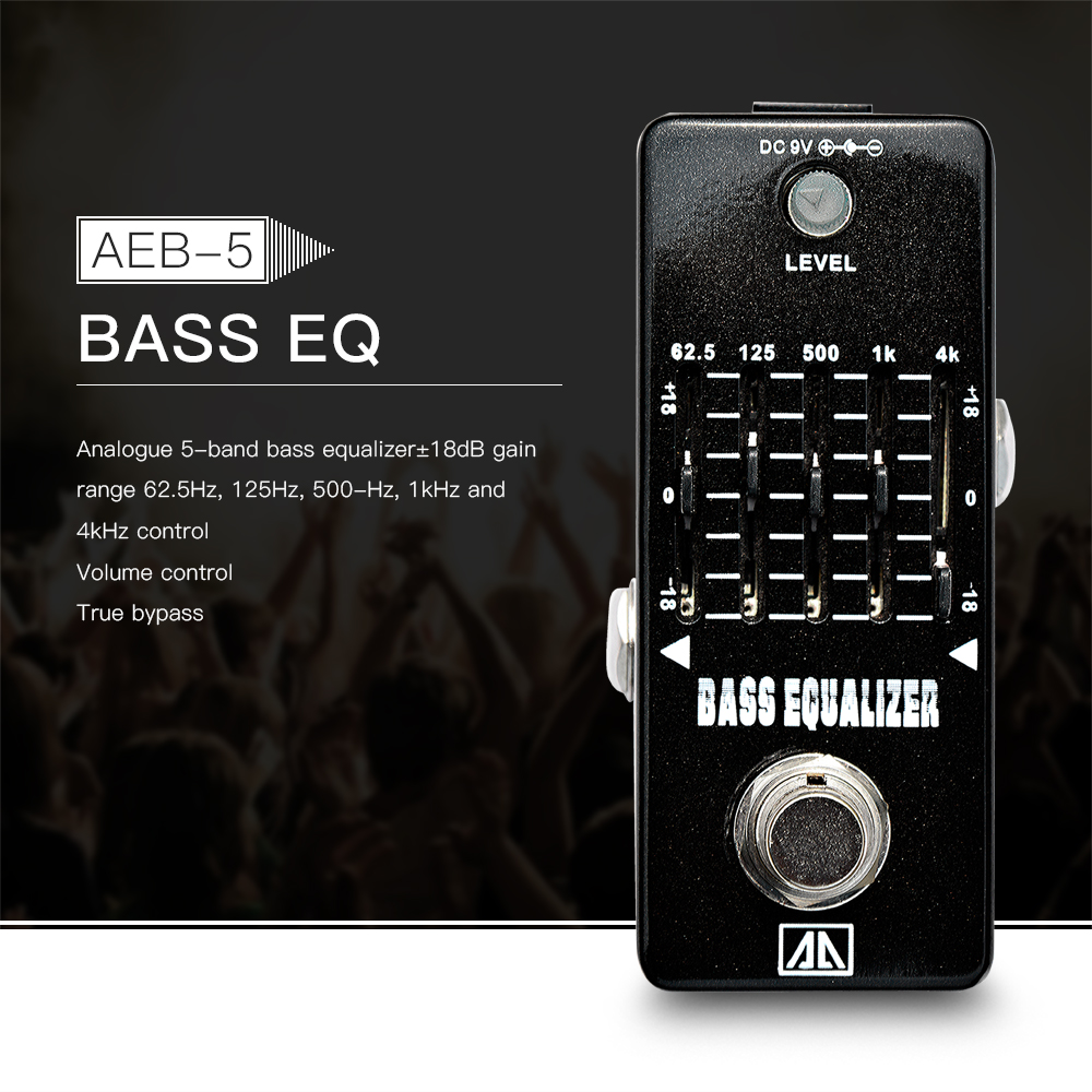 AROMA AEB-5 Analog 5-Band Bass Guitar Equalizer EQ Effect Pedal Aluminum Alloy Body True Bypass<br>