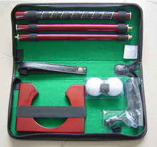 High quality Leather carry bag promotional indoor 3 section golf putter gift set(China)
