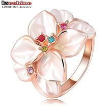 LZESHINE Christmas Big Sale Jewelry Ring Rose Gold Color Austrian Crystal White Enamel Flower Ring for Women anillos Ri-HQ1006