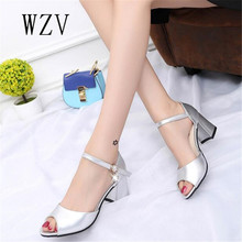 WZV 2017 hot summer fashion women sandals sequins fish mouth chunky high heels buckles diamond banquet han edition women shoes