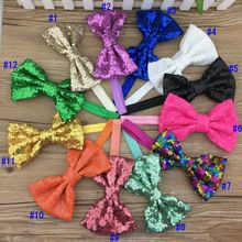 XIMA  5'' Embroidered Sequin Bows Elastic Headband Kids Sequin Bows Hairbands Hair Accessories 25pcs/lot