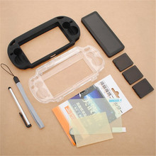 9 in1 Accessory Pack Kit Skin Crystal Silicone Case Cover Screen Protector Touch Stylus Hand Strap Card For PS Vita For PSV(China)