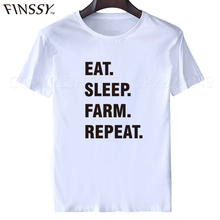Eat. Sleep. Farm. Repeat. t shirt 2017 Farming Farmers Tractor T Shirt Novelty Funny Tshirt Mens Clothing Short Sleeve XXXL