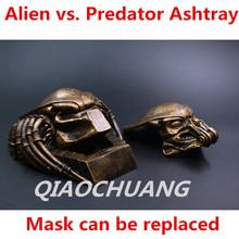 Fashion Gift AVP Statue Alien vs Predator Predator Bust Mask Ashtray Imitation Copper Helmet Action Figure Collectible Model Toy(China)