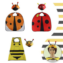 Children Cartoon Bee Ladybug Hat Cloak Set Kids Performance Costume Props Halloween Birthday Party Fancy Dress Decor