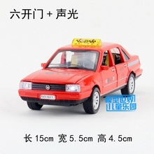 Gift 15cm 1:32 Volkswagen Santana poussin Jetta TAXI car alloy model acousto-optic pull back collection game boy children toy