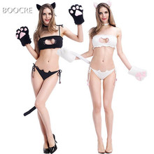 Anime Japanese cos dead water cat kit set hollow embroidery underwear cat underwear underwear Cosplay(China)