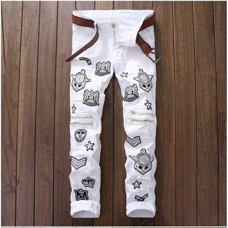 Biker Jeans Men Homme Hiphop Badge Patchwork Jeans Knee Zipper Design Casual Straight Slim Jeans Pant Close-fit Rock Ripped JeanОдежда и ак�е��уары<br><br><br>Aliexpress