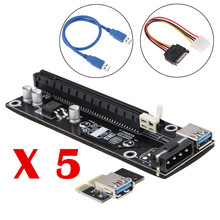 5pcsUSB 3.0 PCI-E Riser PCI E Express 1X to 16X Riser Card Extender Board Adapter Cable SATA 15Pin-6Pin Power for bitcoin mining