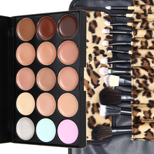 Fashion 15 Colors Contour Face Cream Makeup Concealer Palette 12pcs Leopard Brush with bag(China)