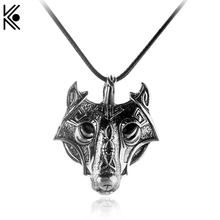 Maix Norse Vikings Pendant Necklace Norse Wolf Head Necklace Original Animal Jewelry Wolf Head hange Black Cord Elegant Gift(China)