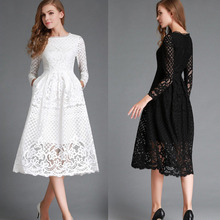 2017 Fashion Womens Lace Hollow out Long Sleeve Formal Dres Skirt Evening Cocktail Wedding Party Dres Skirt Free Shipping