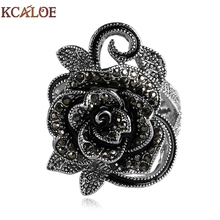 KCALOE Black Flower Rings For Women Crystal Cubic Zirconia Vintage Jewelry Silver Plated Rings Accessories Aneis Feminino Ring(China)